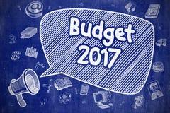 Budget 2017 - Cartoon Illustration on Blue Chalkboard. Budget 2017 on Speech Bubble. Doodle Illustration of Screaming Megaphone. Advertising Concept. Business Stock Image