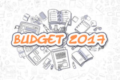 Budget 2017 - Cartoon Orange Word. Business Concept. Orange Text - Budget 2017. Business Concept with Cartoon Icons. Budget 2017 - Hand Drawn Illustration for Stock Illustration