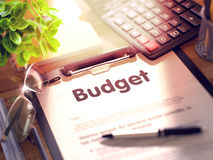 Budget on Clipboard. 3D. Royalty Free Stock Image