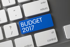 Budget 2017 CloseUp of Keyboard. 3D. Concept of Budget 2017, with Budget 2017 on Blue Enter Button on Slim Aluminum Keyboard. 3D Illustration Stock Photography
