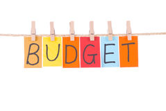 Budget, Colorful Words Hang On Rope Royalty Free Stock Images
