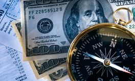 Budget, compass and money. Annual budget, compass, tax form and dollar Stock Images