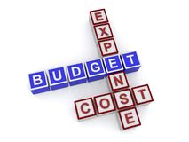 Budget. Components of a budget spelled in text using children's blocks on white background stock photography