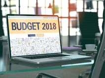 Budget 2018 Concept on Laptop Screen. 3d. Budget 2018 Concept Closeup on Landing Page of Laptop Screen in Modern Office Workplace. Toned Image with Selective Stock Photography