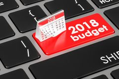2018 budget concept on the keyboard, 3D rendering. 2018 budget concept on the keyboard, 3D Stock Photo