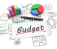 Budget concept. Pie chart on a stock chart with a budget Royalty Free Stock Photography