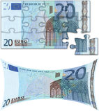 Budget concepts (Euro). Jigsaw puzzle of a euro bill, and a stretched euro bill Royalty Free Stock Photography