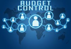Budget Control. Concept on blue background with world map and social icons Stock Photography