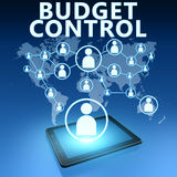 Budget Control. Illustration with tablet computer on blue background Stock Image