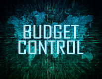 Budget Control. Text concept on green digital world map background Stock Photos