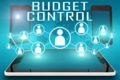 Budget Control. Text illustration with social icons and tablet computer and mobile cellphones on cyan digital world map background Stock Photo