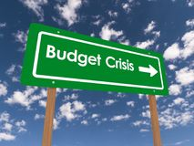 Budget crisis. An illustration of a traffic sign with the text 'Budget Crisis vector illustration