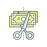 Budget Cut, reduce costs, money saving concept, Credit or Debit Card Payment, Cash and Coin. Vector Icon Style Illustration of Budget Cut, reduce costs, money Stock Photos