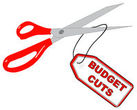 Budget cuts. Scissors cutting off tag that says budget cuts - vector Royalty Free Stock Photo