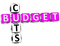 Budget Cuts Crossword. 3D Budget Cuts Crossword on white background Royalty Free Stock Photography