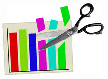 Budget cuts - scissors and graph, chart - isolated Royalty Free Stock Images