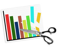 Budget cuts with scissors, isolated on white Stock Photos