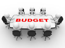 Budget. 3d people - man, person at conference table. Budget Stock Images