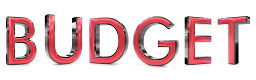 Budget 3d word. The budget word 3d rendered red and gray metallic color , isolated on white background Stock Photography