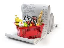 Budget de dépenses d'épicerie et concept de consommationisme Baske d'achats illustration stock