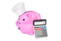 Budget de famille de l'épargne pour la nourriture et le concept de cuisson, rendu 3D Image stock