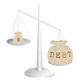 Budget deficit. Debt and earnings on a scale Stock Image