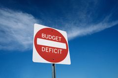 Stop deficit spending government budget. Budget deficit warning sign concept with room for copy and text stock photo