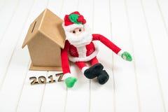 Budget des neuen Jahres 2017 Weihnachtsniederlassung und -glocken Stockfotos