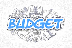 Budget - Doodle Blue Inscription. Business Concept. Blue Inscription - Budget. Business Concept with Doodle Icons. Budget - Hand Drawn Illustration for Web Stock Photography
