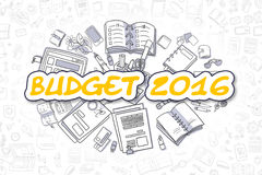 Budget 2016 - Doodle Yellow Word. Business Concept. Cartoon Illustration of Budget 2016, Surrounded by Stationery. Business Concept for Web Banners, Printed royalty free illustration