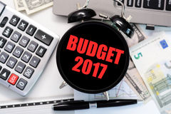 Budget exercise or forecast for the upcoming year of 2017 concept with old clock Royalty Free Stock Photography