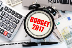 Budget exercise or forecast for the upcoming year of 2017 with old clock concept Stock Image