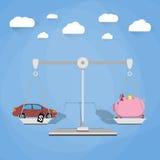 Budget- förbrukning med vågbegrepp stock illustrationer