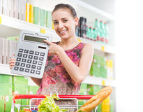 Budget friendly shopping at supermarket Royalty Free Stock Photos