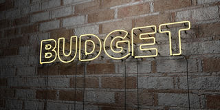 BUDGET - Glowing Neon Sign on stonework wall - 3D rendered royalty free stock illustration Stock Photos