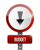 Budget going down road sign illustration. Design over white Stock Images