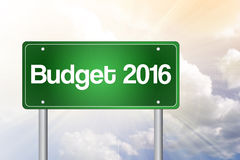 Budget 2016 green road sign stock illustration