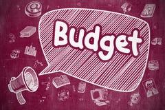Budget - hand dragen illustration på den röda svart tavlan vektor illustrationer