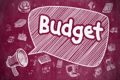 Budget - Hand Drawn Illustration on Red Chalkboard. Royalty Free Stock Photography