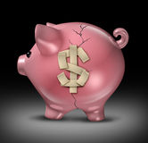 Budget Help. And financial assistance with savings guidance to fix money problems and save you from a money crisis with a broken cracked pink piggy bank with Stock Image
