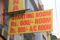 Hotel price list New Delhi India. Budget hotel price list in Paharganj New Delhi India royalty free stock image