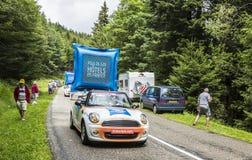 Budget- hotellhusvagn för ibis - Tour de France 2014 Arkivbild