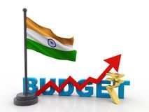Budget India Concept isolated in white background, Indian Budget. 3d render royalty free illustration