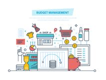 Budget management. Financial calculations, statistics, data analytics, planning finance, report. Budget management. Financial calculations, planning of finance Royalty Free Stock Photo