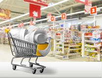 Budget. Market proof of purchase pay sell completion expenditures shopping cart Stock Photo