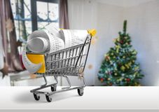 Budget. Market proof of purchase pay sell completion expenditures shopping cart Royalty Free Stock Images