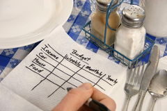 Budget on a napkin. Man's hand scribbles simple budget on a napkin Royalty Free Stock Images