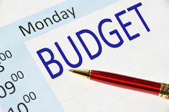 Budget note. In the agenda Royalty Free Stock Image