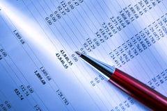 Budget och en penna arkivfoton