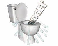 Budget Overspending Waste Money Flush Toilet Royalty Free Stock Image